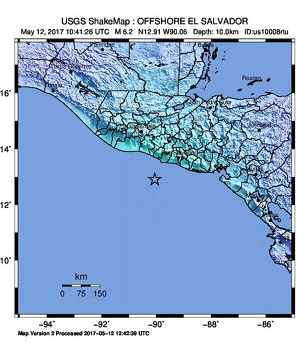 USGS ShakeMap for the May 12, 2017 M6.2 Earthquake 79km SSW of Acajutla, El Salvador. (Figure from USGS.)