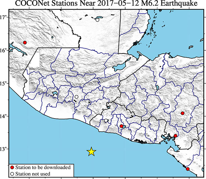Map showing continuous GPS/GNSS stations near the epicenter (yellow star) of the May 12, 2017 Mw 6.2 event near Acajutla, El Salvador. UNAVCO is downloading high-rate GPS/GNSS data from COCONet stations TEG2, SSIA, CN21, CN22 and CN25. (Figure by Christine Puskas, UNAVCO)