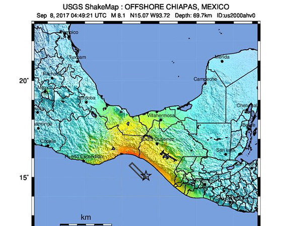 USGS ShakeMap for the September 8, 2017 Mw 8.1 event near Pijijiapan, Mexico. (Figure from USGS.)