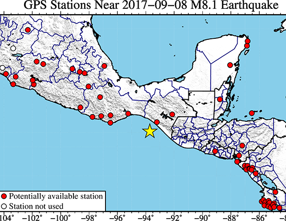 Map showing continuous GPS/GNSS stations with recently available data for PBO/TLALOCNet/COCONet and local networks, near the epicenter (yellow star) of the September 8, 2017 Mw 8.1 event near Pijijiapan, Mexico. (Figure by Christine Puskas, UNAVCO)