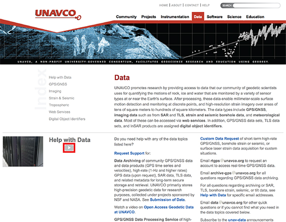 The UNAVCO Data page now links to the various data access videos highlighted in red.
