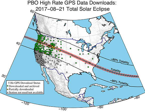 Map of the path of the August 21, 2017 solar eclipse across North America with locations of high-rate PBO GPS stations. Stars indicate stations shown in Figures 3, 4, and 5. (Figure by Christine Puskas, UNAVCO)
