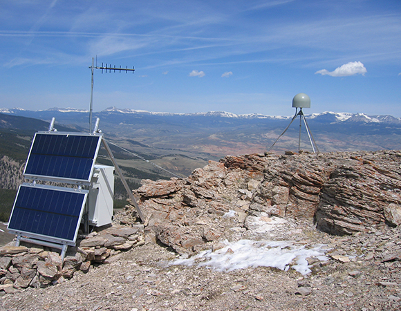 In the path of totality: PBO GPS station P715 in Dubois, WY. (Photo by Summer Rhoades, UNAVCO)