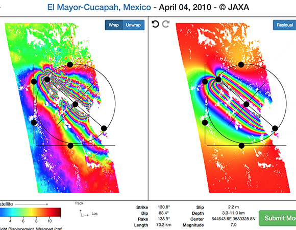 The Visible Earthquakes interactive online InSAR modeling tools allows users to adjust fault rupture parameters to find a best fit for a real earthquake. This interferogram is from The El Mayor Cucapah Earthquake in Mexico. (https://earthquakes.aranzgeo.com/model/elmayor)