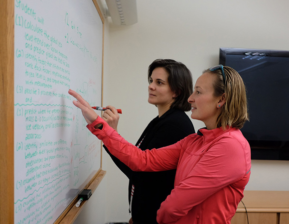 GETSI authors Leigh Stearns and Becca Walker plan out their module elements. (Photo/Shelly Olds, UNAVCO)