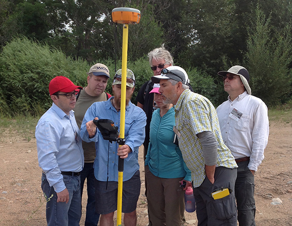 Participants in the 2017 Field Education short course learn to use kinematic GPS to survey in Structure from Motion control points. Lyons, Colorado (Photo/Beth Pratt-Sitaula, UNAVCO)