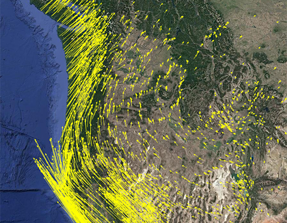 Plate Boundary Observatory GPS stations show the complex plate motion of the western US. Several GETSI modules feature these GPS data, and ways they can help us address societal challenges such as earthquake hazards and water resource assessment. (Screenshot from the UNAVCO GPS Velocity Viewer)