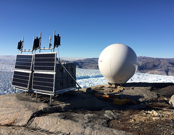 The radar system at Helheim Glacier, Greenland. (Photo/Denise Holland)