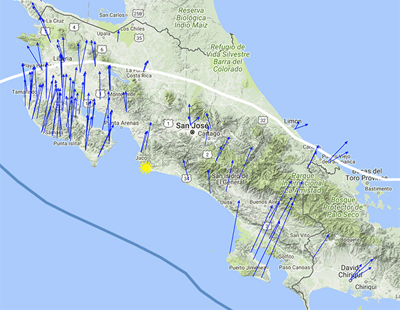 Long-term velocities (blue arrows) of GPS/GNSS stations in the region around the epicenter (yellow star) of the November 13, 2017 Mw 6.5 event near Jaco, Costa Rica. The scale is represented by the pink arrow in the lower left, indicating 25mm/yr. Reference frame is Caribbean plate fixed. Screenshot from the UNAVCO GPS Velocity Viewer.