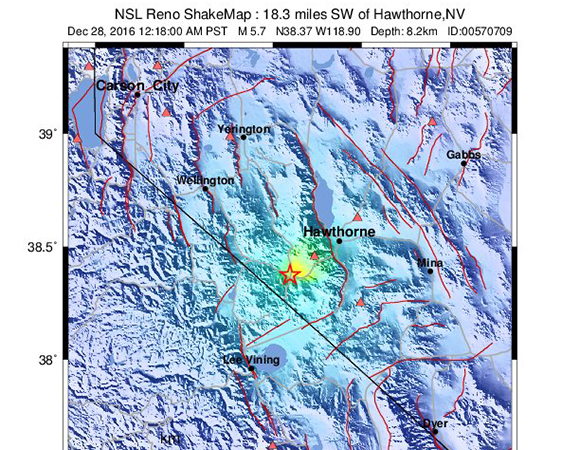 USGS ShakeMap for the December 28, 2016 M5.7 earthquake 29km WSW of Hawthorne, Nevada. (Figure from USGS.)