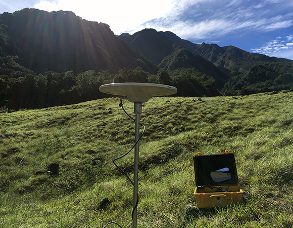 Collecting episodic GPS data at station BAR1 in western Panama near Volcán Barú, June 2017. (Photo/Mike Fend, UNAVCO)