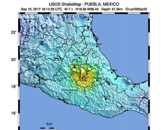 USGS ShakeMap for the September 19, 2017 Mw 7.1 event near Raboso, Mexico. (Figure from USGS.)