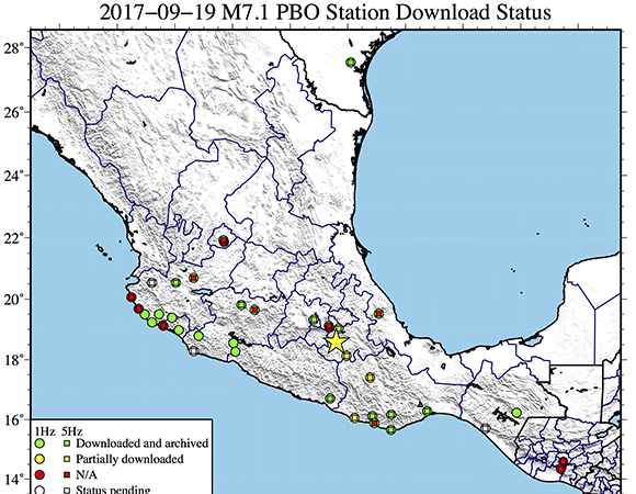 Map showing continuous GPS/GNSS stations with recently available data for PBO/TLALOCNet/COCONet and local networks, within a 1,000-km radius of the epicenter (yellow star) of the September 19, 2017 Mw 7.1 event near Raboso, Mexico. (Figure by Christine Puskas, UNAVCO). (Figure by Christine Puskas, UNAVCO)