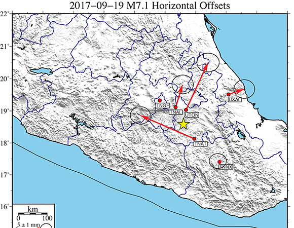 """Preliminary horizontal GPS displacements from GPS sites near the M7.1 Puebla, Mexico earthquake on 2017-09-19. These """"rapid"""" coseismic offsets were estimated from analyzing a short span of daily solutions (~2-days) on either side of the event. As more data become available, the ACC will also produce a """"final"""" offset solution as well as offsets estimated from Kalman filter time series analyses, available from the UNAVCO FTP site. (Analyses by Tom Herring, MIT; figure by Christine Puskas, UNAVCO)"""