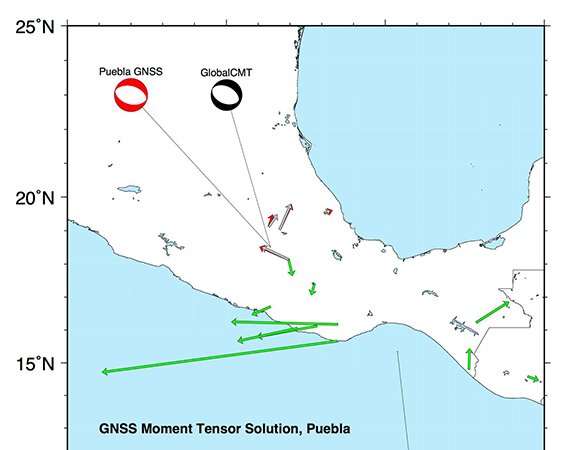A GNSS point source centroid moment tensor solution for the September 19, 2017 Puebla earthquake using rapidly computed coseismic offsets from the GAGE ACC at MIT. Green's functions are from Hashima et al. [2008] using a homogeneous half-space formulation. The deviatoric moment tensor is solved for at all depths between 0 and 100 km at the location of the GlobalCMT solution, and the L1-norm minimizing solution is chosen for the depth. The nodal planes of the double couple solution, the depth, and the moment magnitude are shown on the plot as well as the focal mechanisms for the GlobalCMT (black) and the GNSS (red) solution. The vectors show the coseismic offsets computed by NGL (red) and the modeled values from the CMT (grey). The formalism of the inversion is laid out in Crowell et al. [2016 - SRL]. (Analyses and figure by Brendan Crowell, University of Washington)