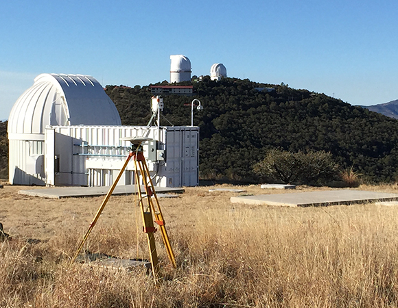 A temporary GNSS monument collected data for two days, near the proposed SLR location, at the McDonald Observatory in Ft. Davis, Texas. The data was used to determine the site suitability for future permananent GNSS stations at the same location. The test data from this particular location was high quality and showed that an adequate number of satellites were in view. Various deep space telescopes are visible in the background.
