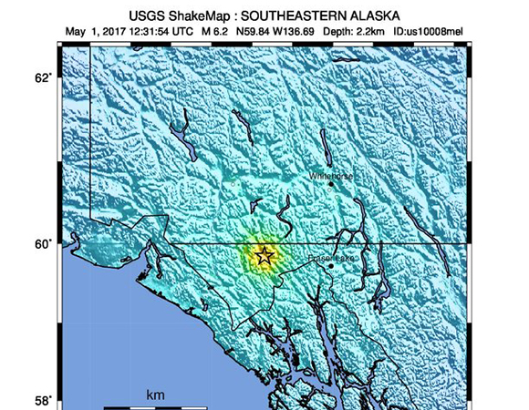 USGS ShakeMap for the May 1, 2017 M6.2 earthquake 88km WNW of Skagway, Alaska. (Figure from USGS.)