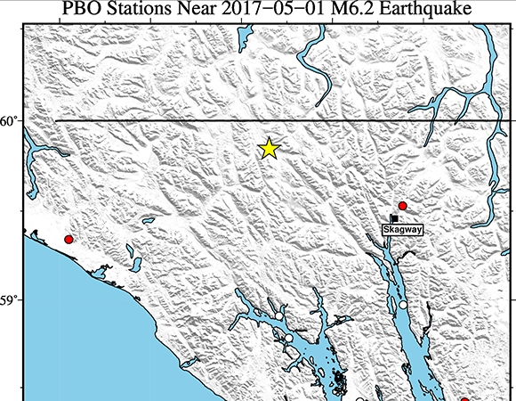 Map showing EarthScope Plate Boundary Observatory continuous GPS/GNSS stations near the epicenter (yellow star) of the May 1, 2017 Mw 6.2 event near Skagway, Alaska. UNAVCO is downloading high-rate GPS/GNSS data from PBO stations AB42, AB43, AB44, and AB50. (Figure by Christine Puskas, UNAVCO)