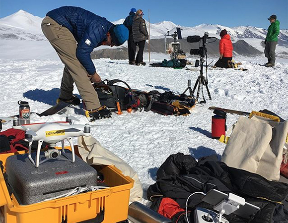 UNAVCO supports researchers in Antarctica and the Arctic with small UAVs to collect geodetic imagery data for site characterization, feature identification and surface topography information. Additional photographic and video products are used for education and outreach purposes. These products are useful for communicating scientific results with people unfamiliar with the project. (Photo/Brendan Hodge, UNAVCO)