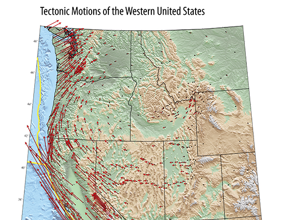 Tectonic Motions of the Western United States poster, available for free at the UNAVCO booth at AGU 2018.