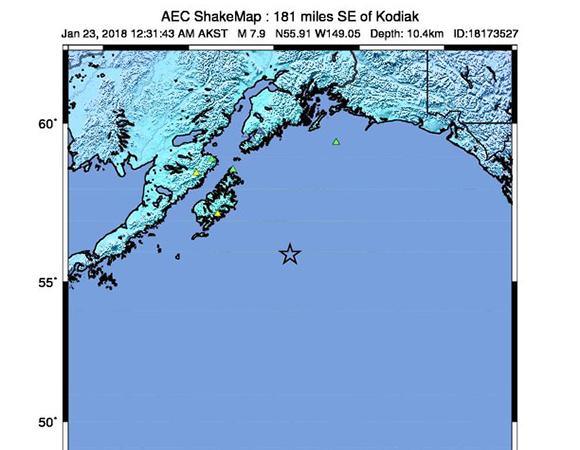 USGS ShakeMap for the January 23, 2018 Mw 7.9 earthquake 280km SE of Kodiak, Alaska. (Figure from USGS.)