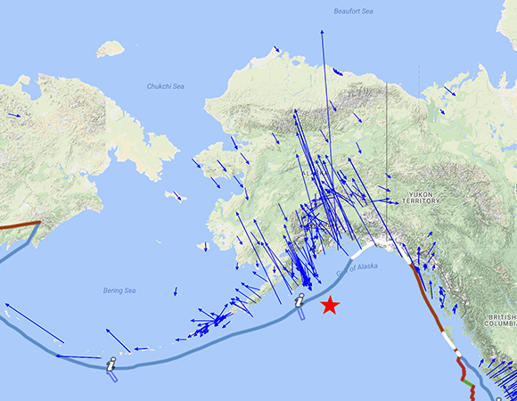 Long-term velocities (blue arrows) of GPS/GNSS stations in the region around the epicenter (red star) of the January 23, 2018 Mw 7.9 earthquake 280km SE of Kodiak, Alaska calculated by the GAGE GPS Analysis Center Coordinator. The scale is represented by the pink arrow in the lower left, indicating 25mm/yr. Reference frame is stable North America (NAM08: North America). Screenshot from the UNAVCO GPS Velocity Viewer.