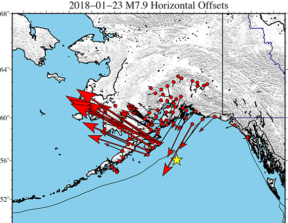 """Preliminary GAGE Analysis Center Coordinator horizontal displacement solutions from GPS sites near the 2018-01-23 M7.9 Kodiak, AK earthquake. These """"rapid"""" coseismic offsets were estimated from analyzing a short span of daily solutions (~2-days) on either side of the event. As more data become available, the ACC will also produce a """"final"""" offset solution as well as offsets estimated from Kalman filter time series analyses, available from the UNAVCO FTP site. Analyses by Tom Herring, MIT. Figure by Christine Puskas, UNAVCO."""