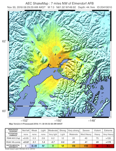 USGS ShakeMap for the November 30, 2018 M7.0 Earthquake, 13km N of Anchorage, Alaska. (Figure from USGS)