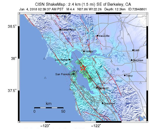 USGS ShakeMap for the January 4, 2018 Mw 4.4 earthquake 2km SE of Berkeley, California. (Figure from USGS.)