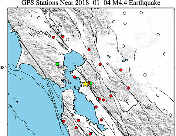 Map showing continuous GPS/GNSS stations (circles) and borehole strainmeters (squares) near the epicenter (yellow star) of the January 4, 2018 Mw 4.4 earthquake 2km SE of Berkeley, California. UNAVCO downloaded high-rate GPS/GNSS data from 18 stations within a 50 km radius of the epicenter. (Figure by Christine Puskas, UNAVCO)