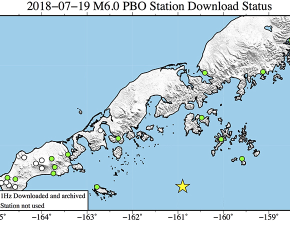 Map showing continuous GPS/GNSS stations (circles) near the epicenter (yellow star) of the July 19, 2018 Mw 6.0 earthquake 92km WSW of Chernabura Island, Alaska. UNAVCO is downloading available high-rate GPS/GNSS data from Plate Boundary Observatory stations within 200 km of the epicenter (circles) for a 6-hour time window around the event (± 3 hours). (Figure by Christine Puskas, UNAVCO)
