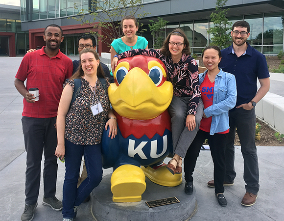 The eight graduate students who recieved funding from GAGE to attend the 2018 Earth Educators\' Rendezvous in Lawrence, Kansas. (Photo/Wendy Bohon, IRIS)