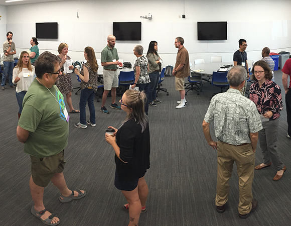 Practicing elevator speeches in the science communication workshop on Thursday, July 19. (Photo/Beth Bartel)