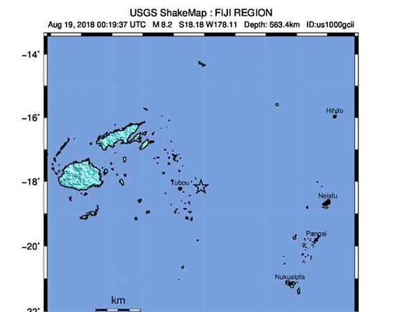 USGS ShakeMap for the August 19, 2018 Mw 8.2 earthquake 280km NNE of Ndoi Island, Fiji. (Figure from USGS.)