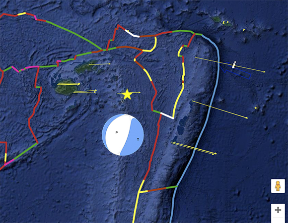 Long-term velocities from GPS stations in the region. Pink scale arrow in the lower left represents 25mm/yr. Velocities are shown relative to the motion of the Pacific plate (GEM GSRM Pacific). Earthquake epicenter is shown by yellow star. Focal mechanism (beach ball) is from USGS and is placed arbitrarily on the figure. (Modified screenshot from the UNAVCO GPS Velocity Viewer)