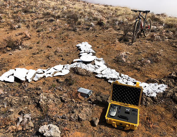 One-hour GPS occupation of a ground control point for the UAS mapping survey. (Photo/John Galetzka, UNAVCO)