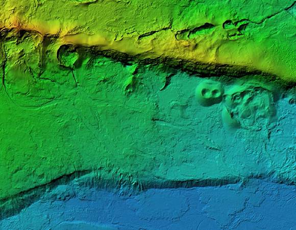 Screenshot of a digital elevation model (DEM) produced from UAS imagery showing the portion of the caldera rim where 2005 and 2018 lava eruptions occurred. (Image/Keith Williams, UNAVCO)