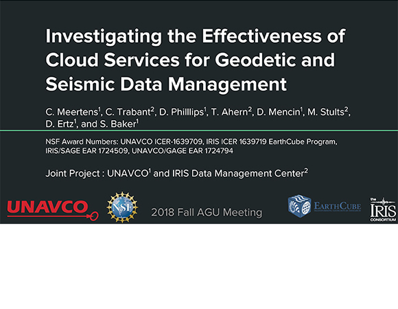 Introductory slide for the AGU 2018 presentation IN54A-08: Investigating the Effectiveness of Cloud Services for Geodetic and Seismic Data Management.