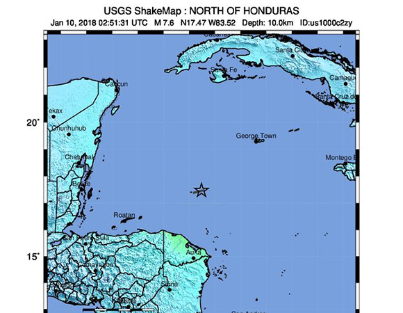 USGS ShakeMap for the January 10, 2018 M7.5 Earthquake 44km E of Great Swan Island, Honduras. (Figure from USGS.)