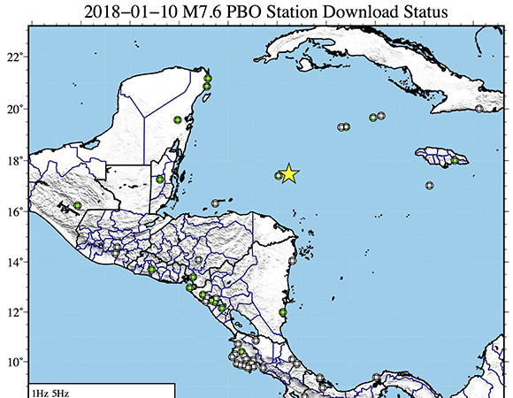 Map showing continuous GPS/GNSS stations near the epicenter (yellow star) of the January 10, 2018 M7.5 Earthquake 44km E of Great Swan Island, Honduras. UNAVCO downloaded high-rate GPS/GNSS data from 17 stations within a 350 km radius of the epicenter. (Figure by Christine Puskas, UNAVCO)