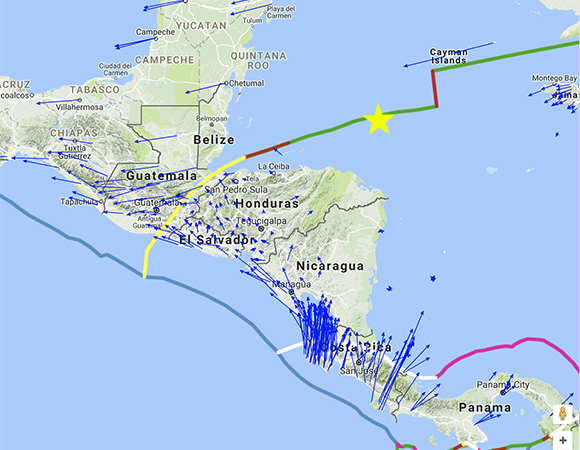 Long-term velocities (blue arrows) of GPS/GNSS stations in the region around the epicenter (yellow star) of the January 10, 2018 M7.5 Earthquake 44km E of Great Swan Island, Honduras. The scale is represented by the pink arrow in the lower left, indicating 25mm/yr. Reference frame is Caribbean plate fixed. Screenshot from the UNAVCO GPS Velocity Viewer.