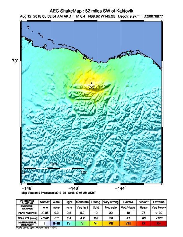 Kaktovik Alaska Map.Data Event Response To The August 12 2018 M 6 4 Earthquake 84km Sw
