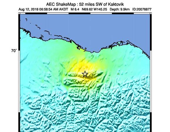 USGS ShakeMap for the August 12, 2018 Mw 6.4 earthquake 84km SW of Kaktovik, Alaska. (Figure from USGS.)