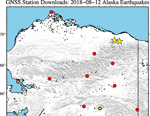 Map showing continuous GPS/GNSS stations (circles/squares) near the epicenters (yellow stars) of the August 12, 2018 Mw 6.4 earthquake 84km SW of Kaktovik, Alaska and its largest aftershock. UNAVCO has downloaded available high-rate GPS/GNSS data from Plate Boundary Observatory stations within ~600 km of the epicenter (red circles) for a 6-hour time window around the event (± 3 hours). Additionally, UNAVCO captured real-time data streams from 7 of these stations (yellow diamonds). (Figure/Christine Puskas, UNAVCO)
