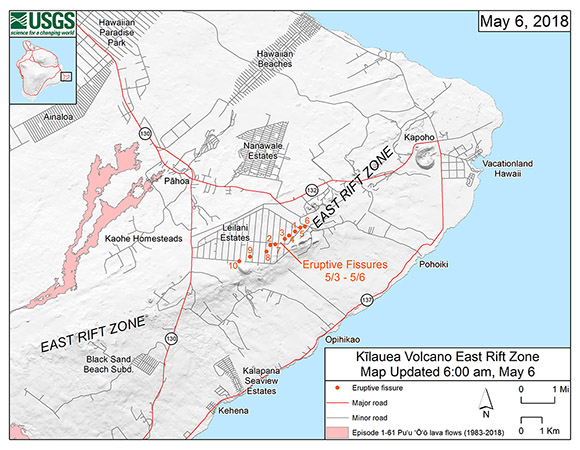 Map of the eruptive fissure locations, as of May 6, 2-18 6am HST, in the order that they occurred in the Leilani Estates Subdivision of the Kīlauea East Rift Zone. Locations were identified by USGS-HVO scientists. (Figure/ USGS-HVO)