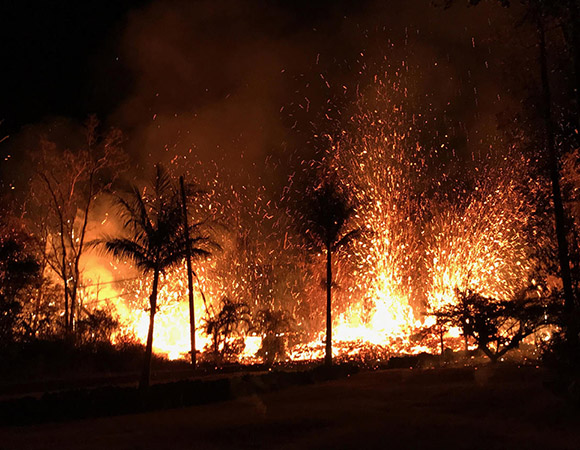 A fissure erupted in the evening of 5/5/18 in the Lower East Rift Zone of Kīlauea. The eruptions began with small lava spattering at about 8:44 p.m. local time. By 9:00 p.m., lava fountains as high as about 70 m (230 ft) were erupting from the fissure. (Photo/ USGS)
