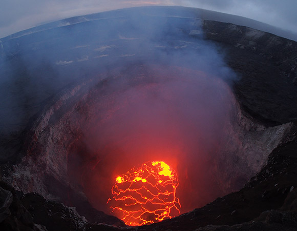 The summit lava lake of Kīlauea of has dropped significantly over the past few days, and as of the evening of May 6, 2018, was roughly 220 m below the crater rim. Image take with a very wide angle camera to capture the entire north portion of the Overlook crater. (Photo/ USGS)