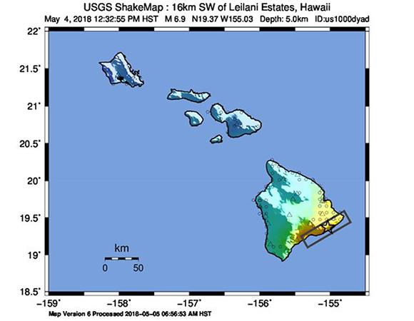 USGS ShakeMap for the May 4, 2018 Mw 6.9 earthquake 16km SW of Leilani Estates, Hawai'i. (Figure/ USGS)