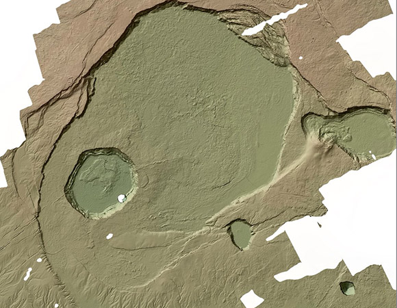 A digital terrain model of Kīlauea caldera and Halema`uma`u Crater from June 2009. Kīlauea airborne LiDAR data collected in 2009 by NCALM available from OpenTopography. (Figure/ Open Topography)
