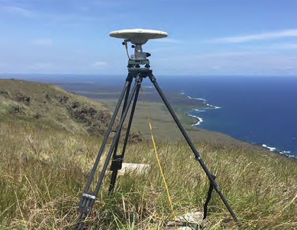 UNAVCO GNSS campaign system deployed by USGS Hawaiian Volcano Observatory staff on Kilauea Volcano on the Big Island of Hawai'i. UNAVCO provided 15 campaign systems and engineering support to HVO in response to the 2018-05-04 Mw 6.9 Leilani Estates earthquake and ongoing volcanic eruption. (Photo/Sarah Conway, USGS HVO)